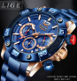 2021 New Men's Top Luxury Brand Blue Sports Chronograph and Waterproof Quartz Wristwatch