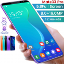 Mate33 Pro Smartphone 512M+4GGB 5.8 Inch Screen Face/Fingerprint Unlocked Dual SIM Mobile Phones